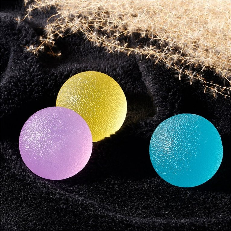 3pcs Round Hand Finger Grip Strength Resistance Exercise Squeeze Therapy Ball TN