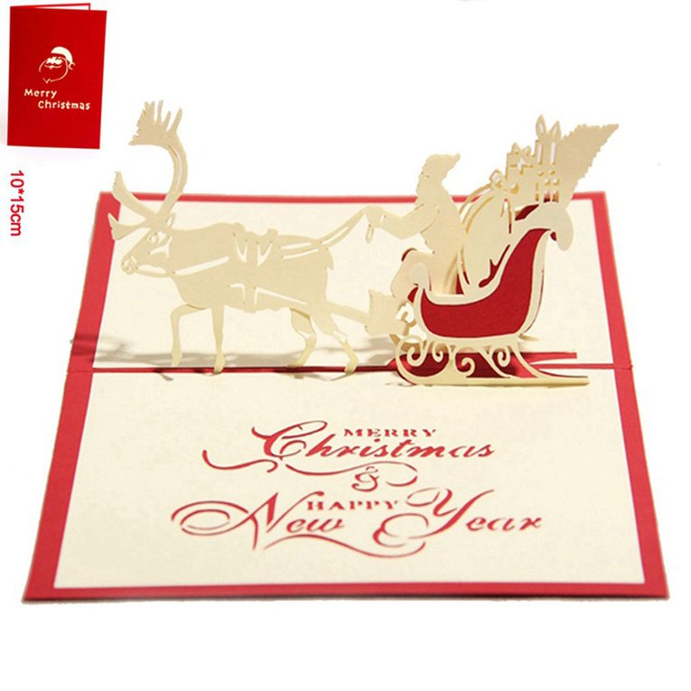 Merry Christmas Card Deer Car Pop Up Card Laser Cut For Birthday ...
