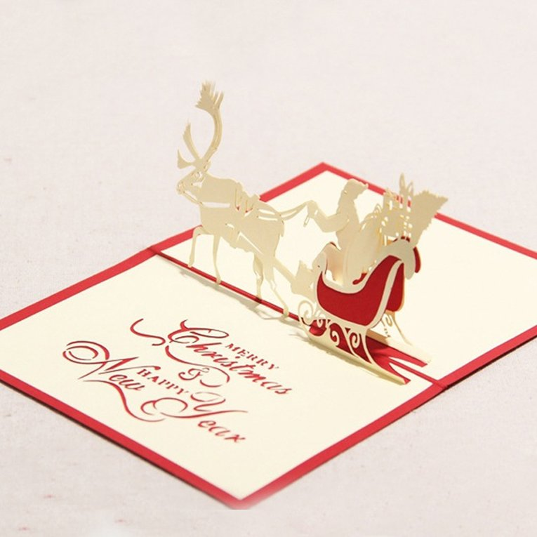 merry christmas card deer car pop up card laser cut for birthday greeting car bn - Deer Christmas Cards
