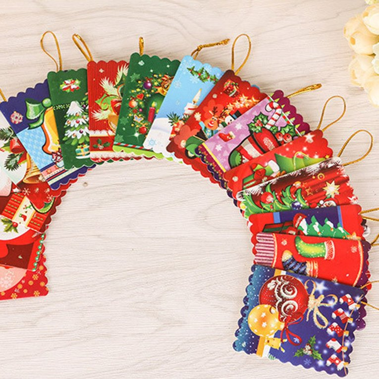 10PCS/Bag Unique Christmas Greeting Cards Colorful Pattern Christmas ...