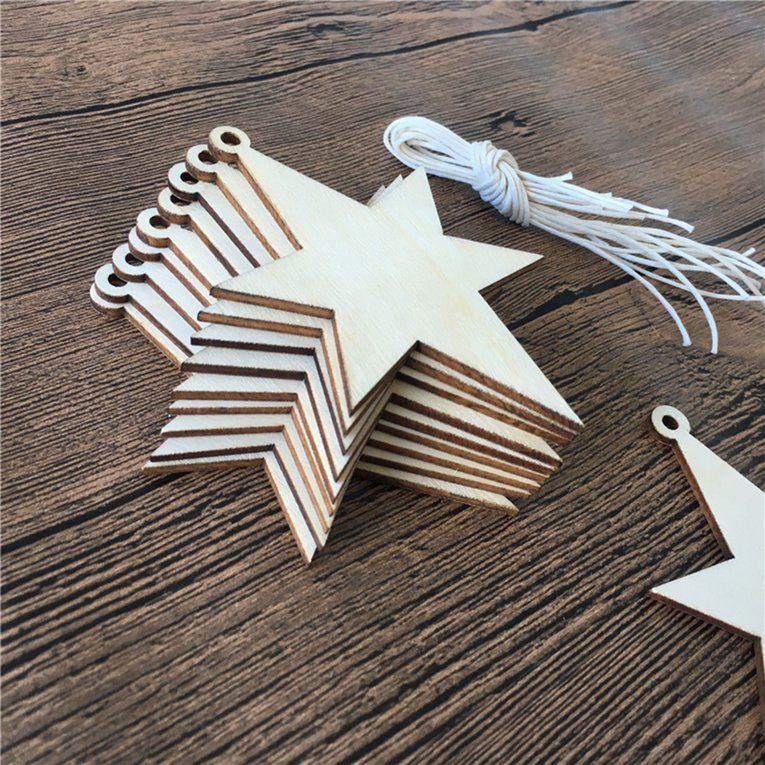 Wooden Carving Piece Christmas Tree Elevator Hex Star 10 Pack A Z1