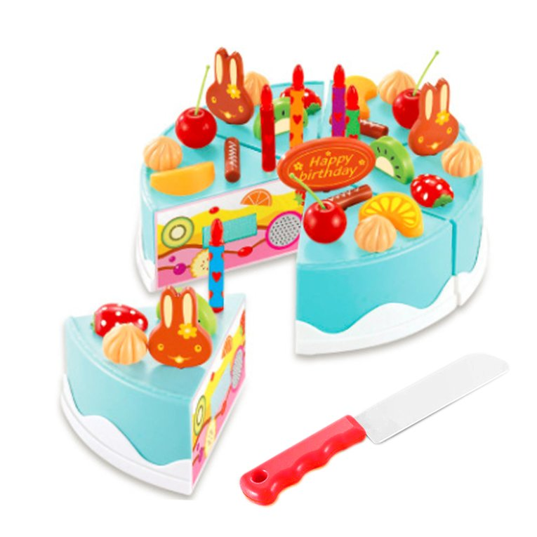Blue Pink Pretend Role Play Kitchen Toy Happy Birthday Cake Food