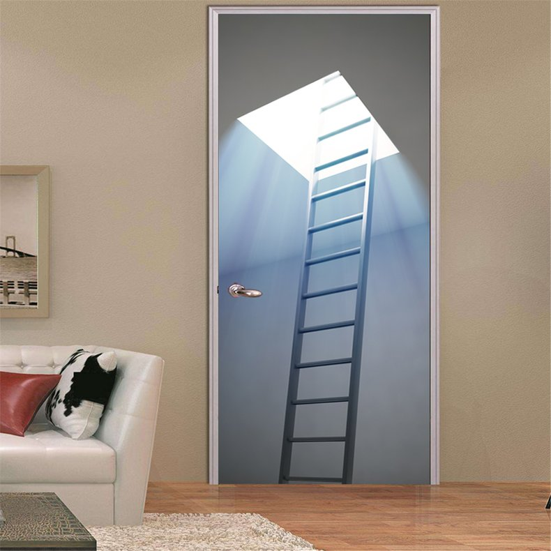 Jual Cozime Staircase Wall Sticker 3d Stereo Door Sticker Artificial Poster Decoration Colorful Semua Store