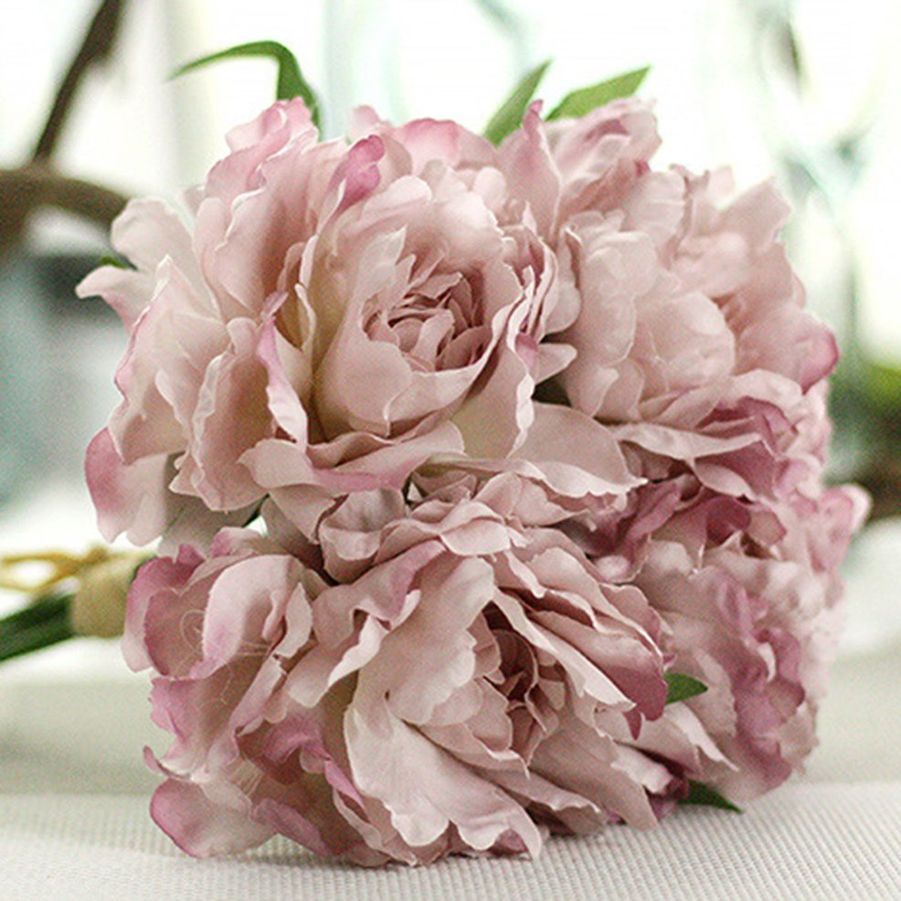 HOT 5 Heads Special Peony Bridal Bouquet Artificial Flowers Wedding ...