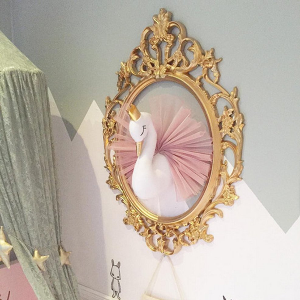 awesome Gold Crown Wall Decor Part - 10: 3D Golden Crown Swan Wall Art Hanging Girl Swan Doll Stuffed Toy Wall Decor  UT
