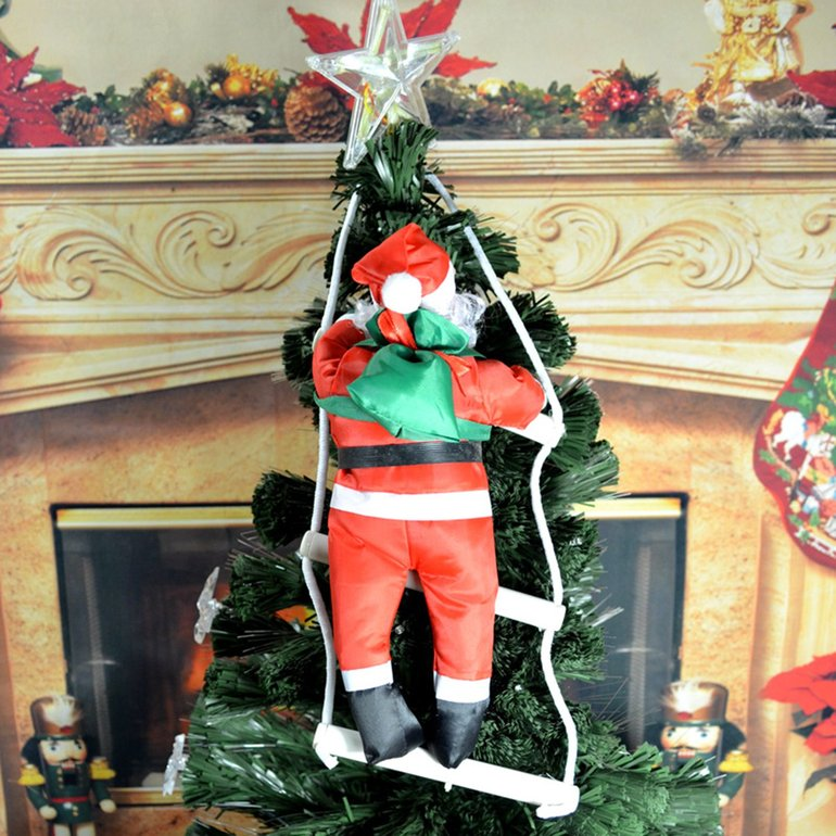 santa claus climbing stairs christmas tree decoration large size with stair ah - Christmas Decorations Large Santa Claus