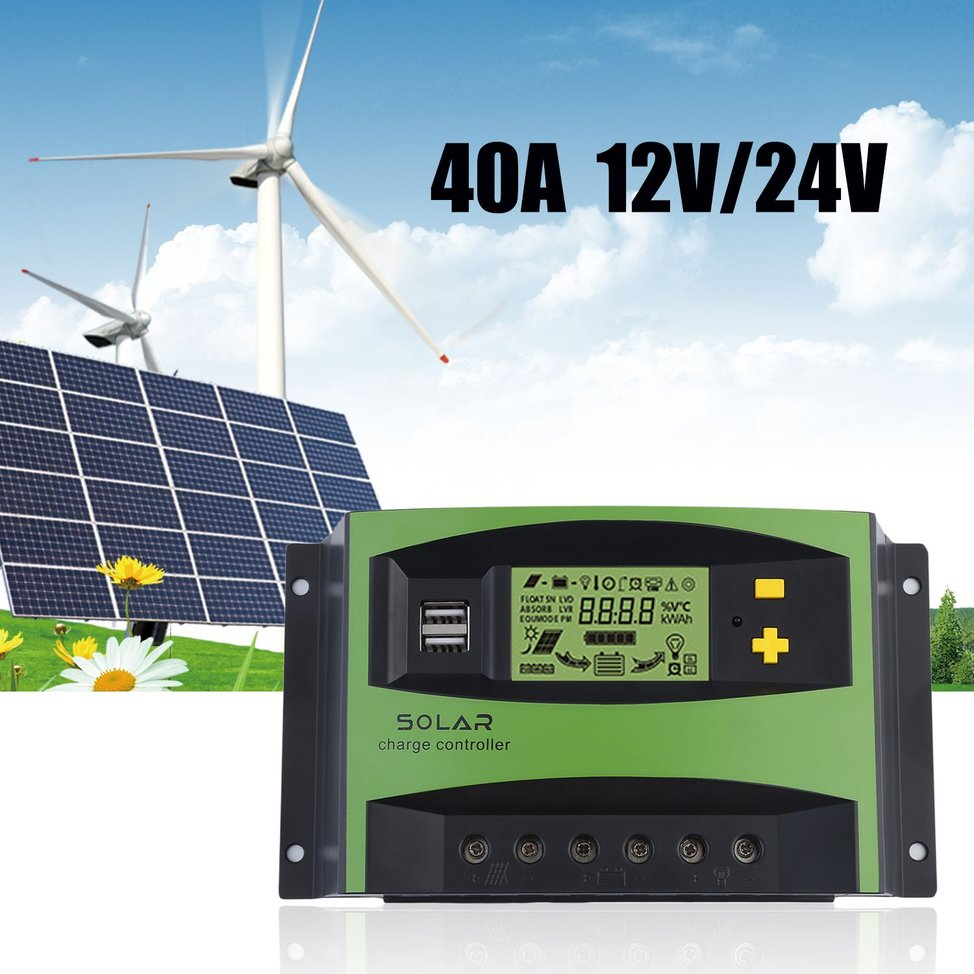 40a 12v 24v Lcd Solar Charge Controller Overload Protective Regulator Circuit Auto Pwm R