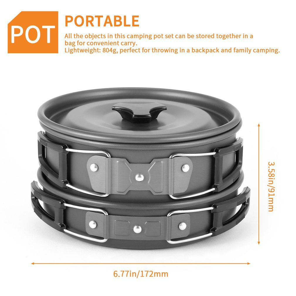Backpacking OUTAD Camping Cookware Set Non Stick Camping Pot Pan Set for Outdoor Camping Hiking