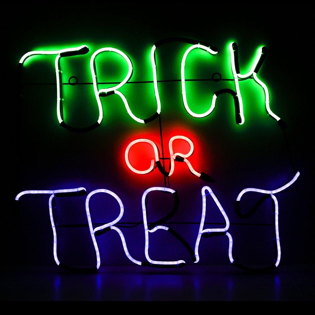 A Neon Sign Light Plate TRICK OR TREAT Shape Wall Light Halloween Home Decor CR