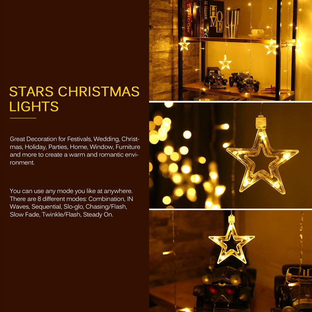 12 stars 6 big stars 6 small stars 108 leds curtain string lights within the length of 22m wire and the big stars diameter 15cm the small stars