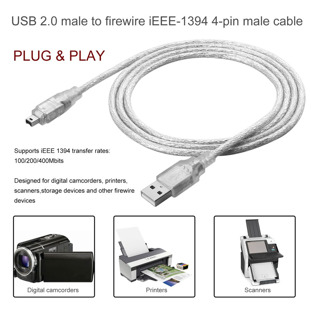 1.2M/5FT USB 2.0 Male to 4 Pin IEEE 1394 Cable FireWire Lead Adapter ...