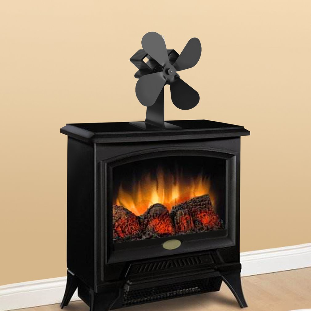 Home Accessories Black Heat Powered 4 Blades Stove Fan Log