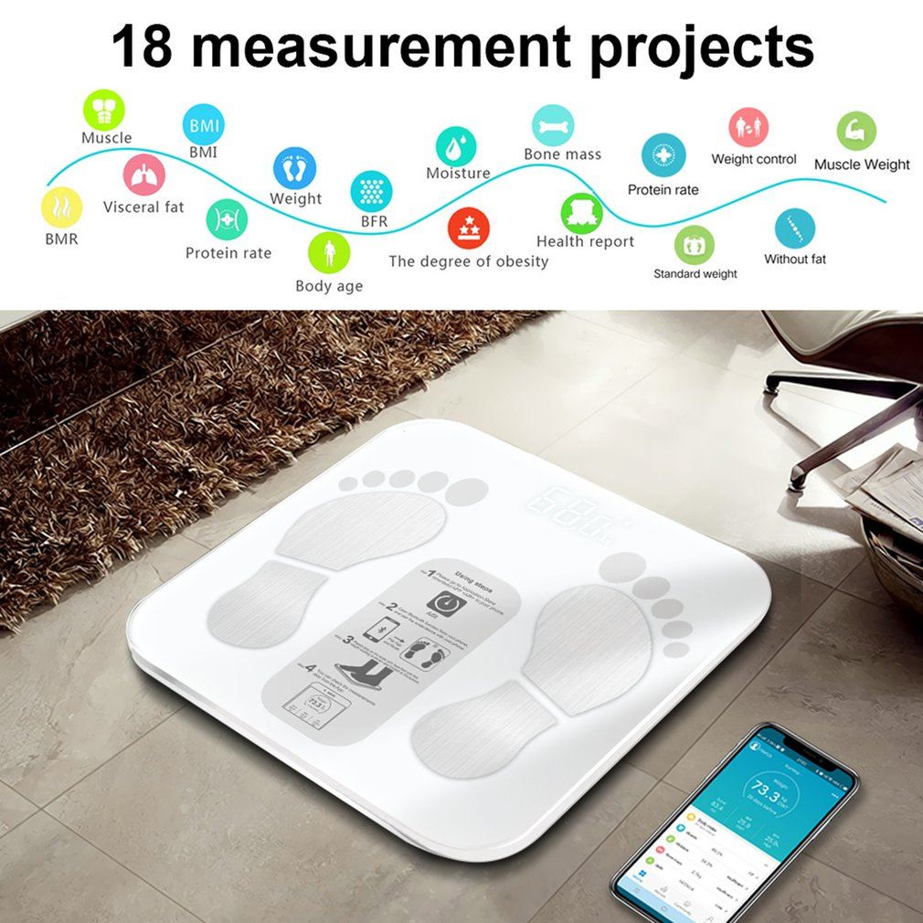 Details about LCD Digital Smart Voice Bluetooth APP Electronic Scales Body  Fat Scale ABS New