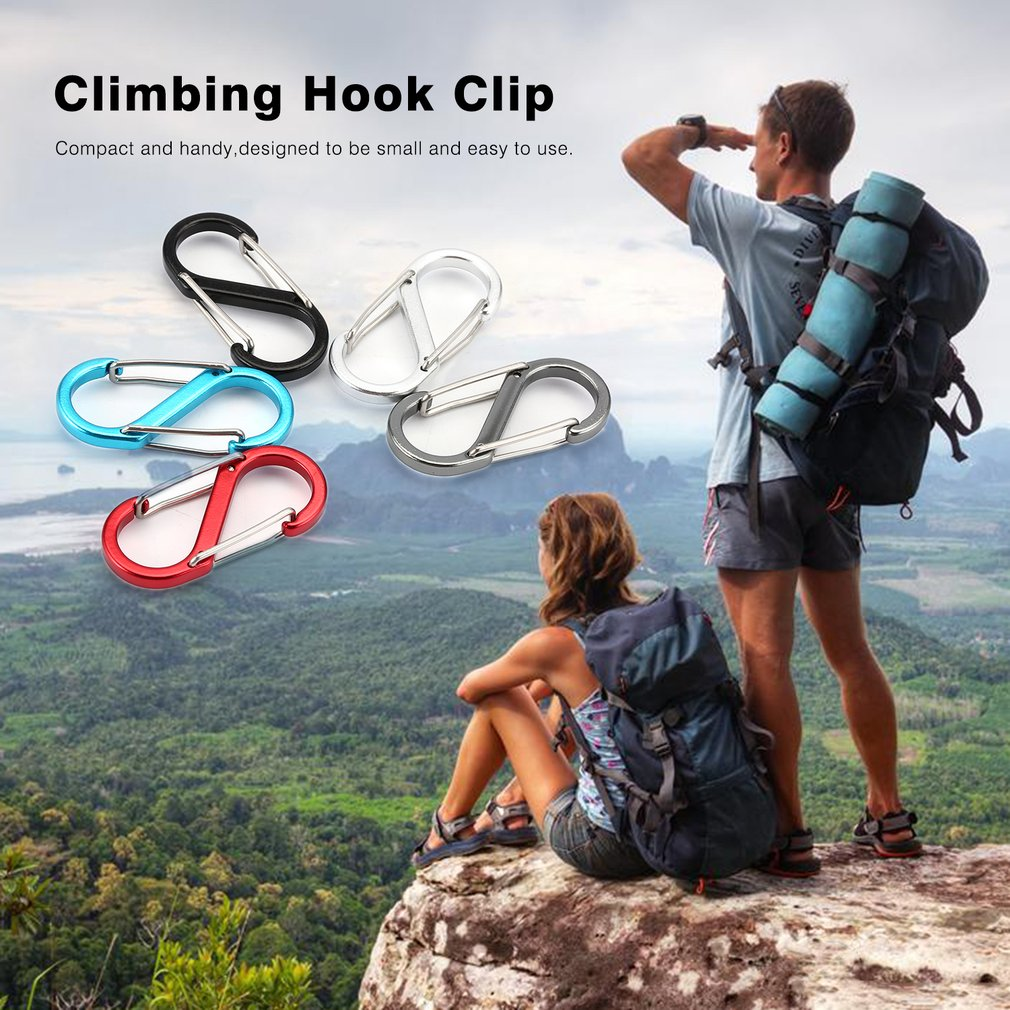 10Carabiner Camping Hiking Spring Snap Clip Hook Keychain EDC Emergency Survival