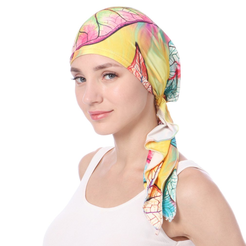 Solid Color Large Flower Milk Silk Cap Lace Plate Flower Hat Muslim Head Cap fW