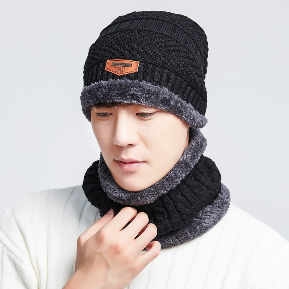 Details about Stylish Winter Thick Hats Men s Knitted Two-piece Warm Wool  Hats Scarves Suit SR a6285239972