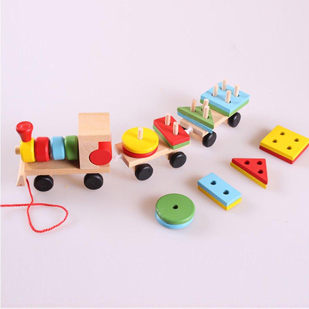 Lovely Charming Wood Train Christmas Innovative Gift Kid Toys For ChildrenN