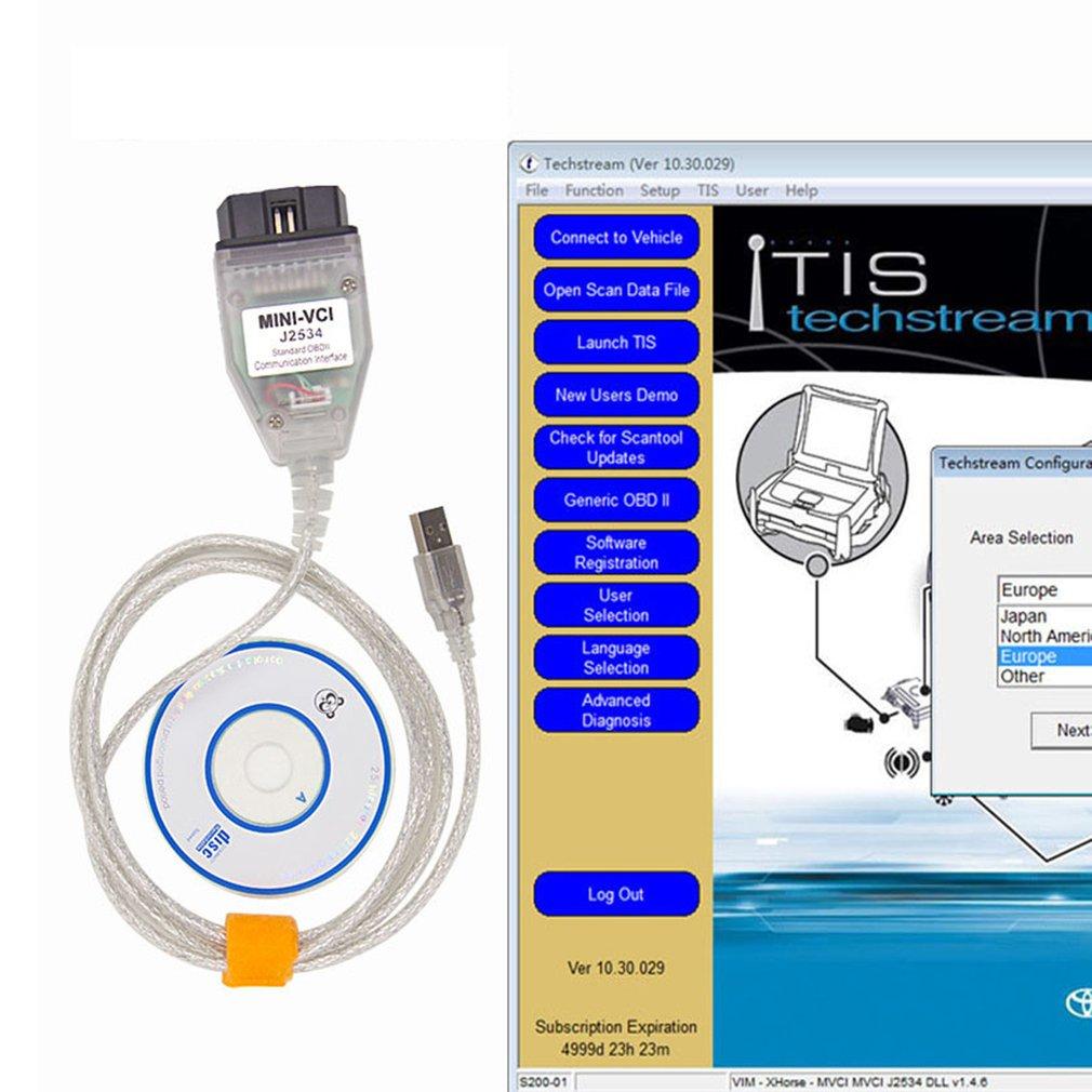 New Mini VCI J2534 OBD2 Diagnostic Tool Code Reader for Lexus Toyota Techstream
