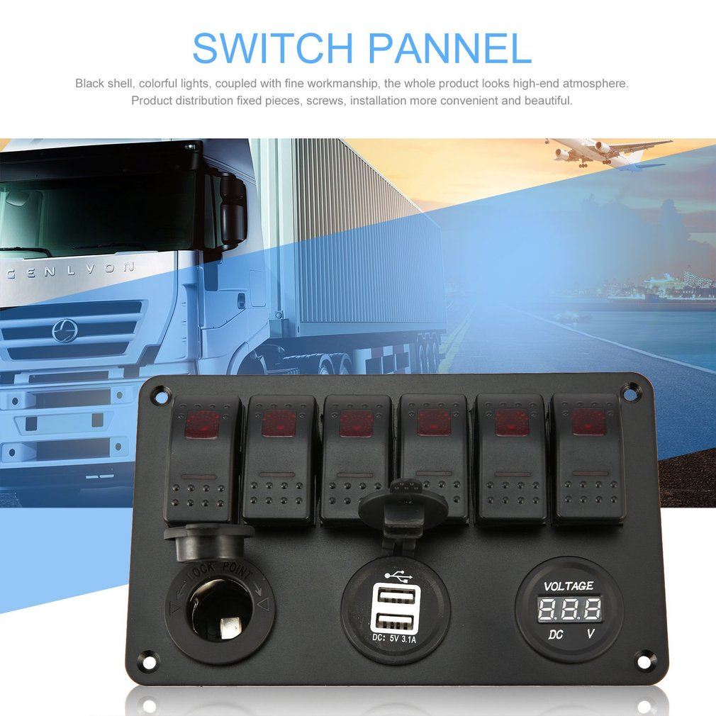 6 Gang Waterproof Rv Car Marine Boat Circuit Breaker Red Led Rocker Switch Panel Cancel Reply Due To The Difference Between Different Monitors Picture May Not Reflect Actual Color Of Item We Guarantee Style Is Same As Shown In