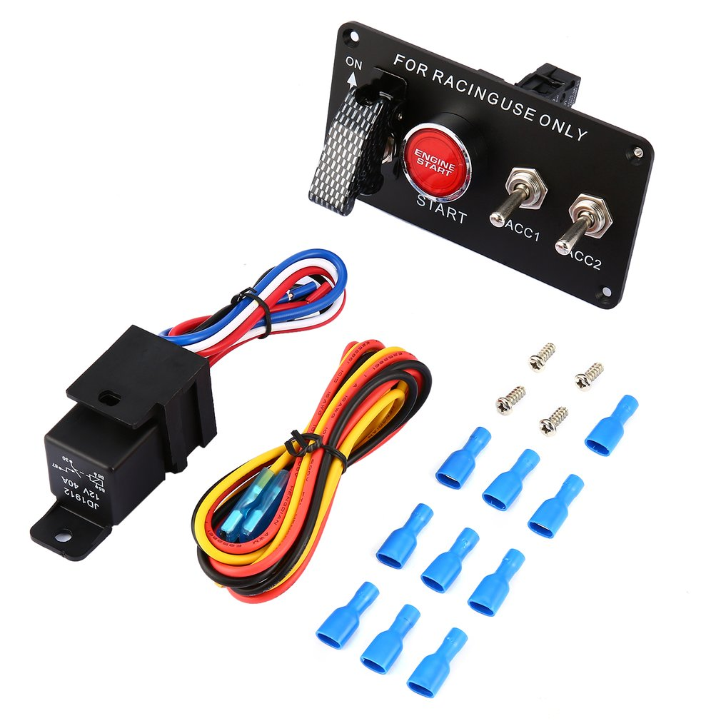 Racing Car 12v Ignition Switch Panel Engine Start Push Button Led Race Wiring Toggle M2