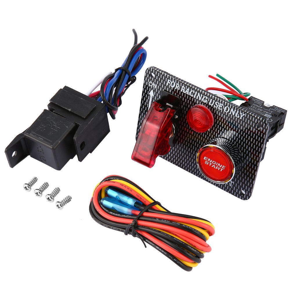 12v Racing Car Engine Start Push Button Ignition Switch Panel Red How To Wire A Led Toggle