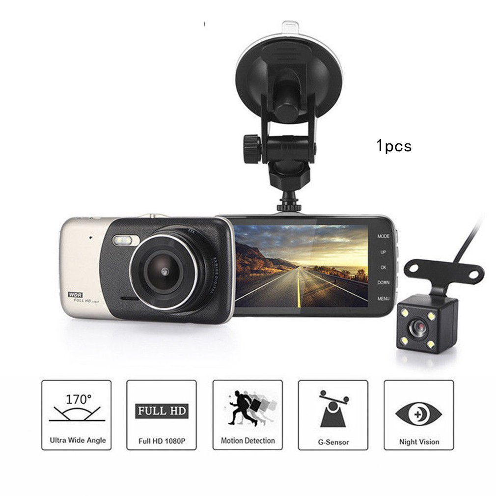 4/'/' Touch Dual Lens HD 1080P Car Video Dash Cam DVR Recorder Camera Night Vision