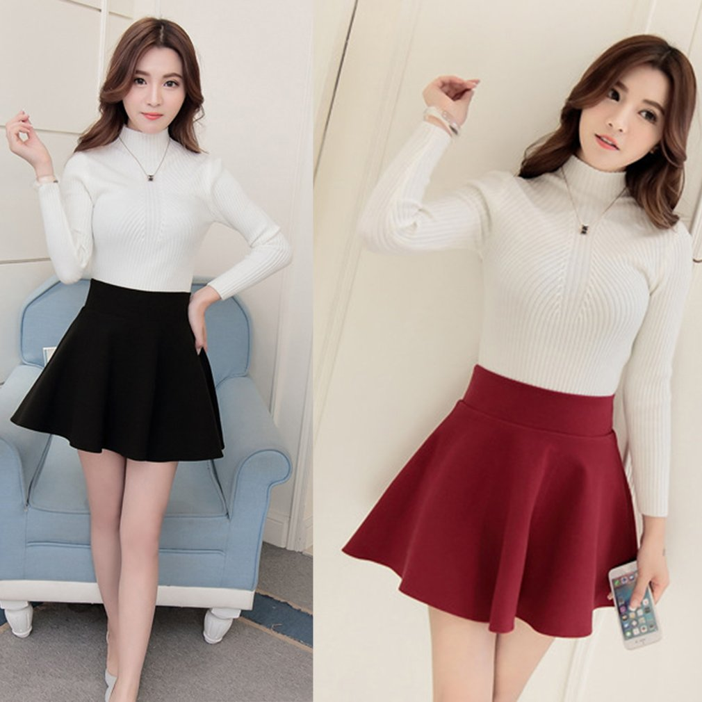 91faf529d8 Women Fashion Solid High Waist Pleated Skirt A-Line Short Mini Skirt Dress  HC