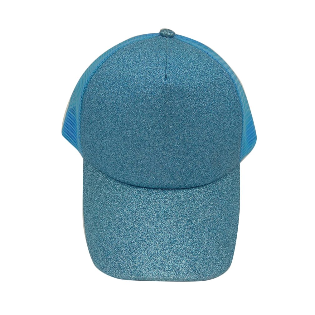 3f7f7568051 Fashion Sequined Baseball Cap Women High Ponytail Mesh Cap Summer ...