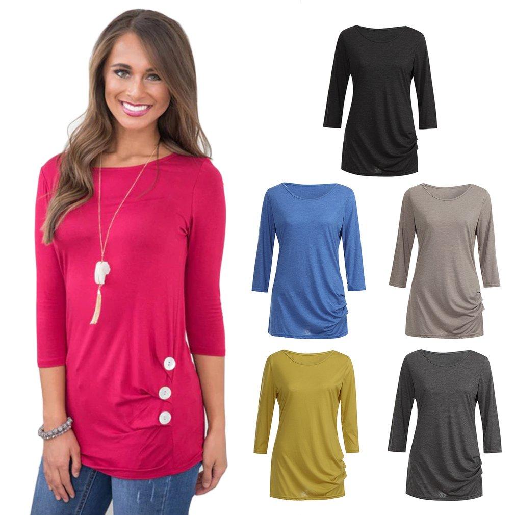 eba34a45c4b078 YJ529 Women T-shirt Round Collar Three-quarter Sleeve Tops with Button  Decor BP