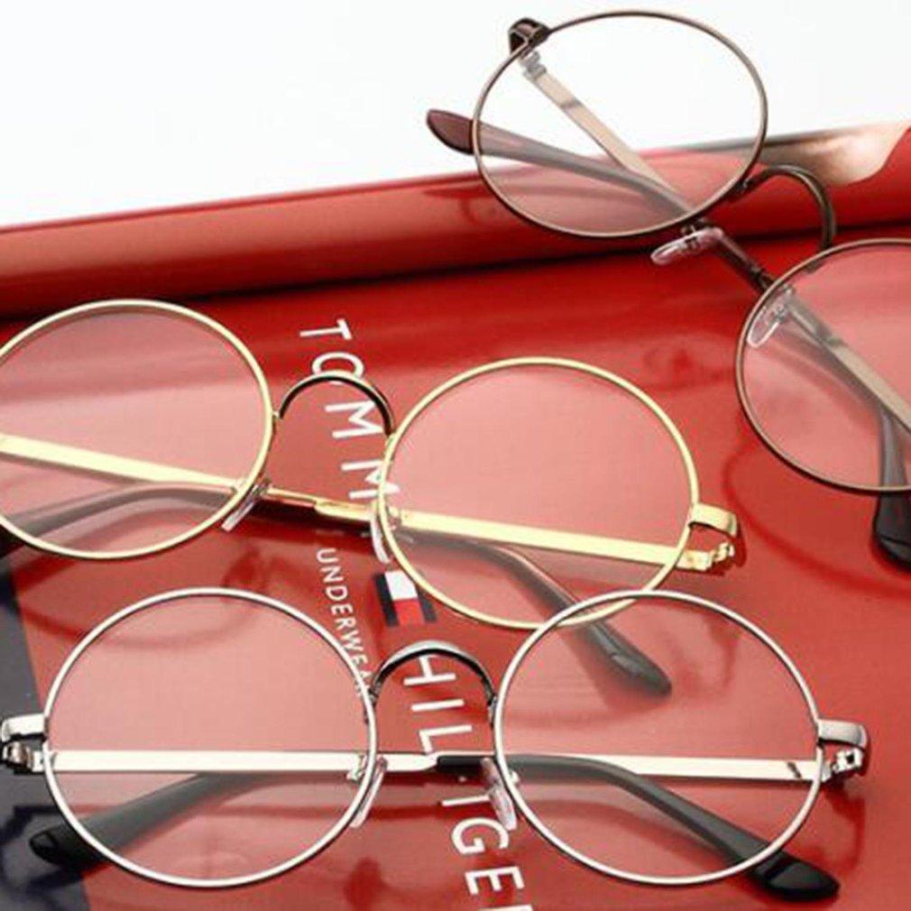ea3cd719351 Metal Frame Round Lens Flat Myopia Optical Mirror Glasses for Men Women WQ