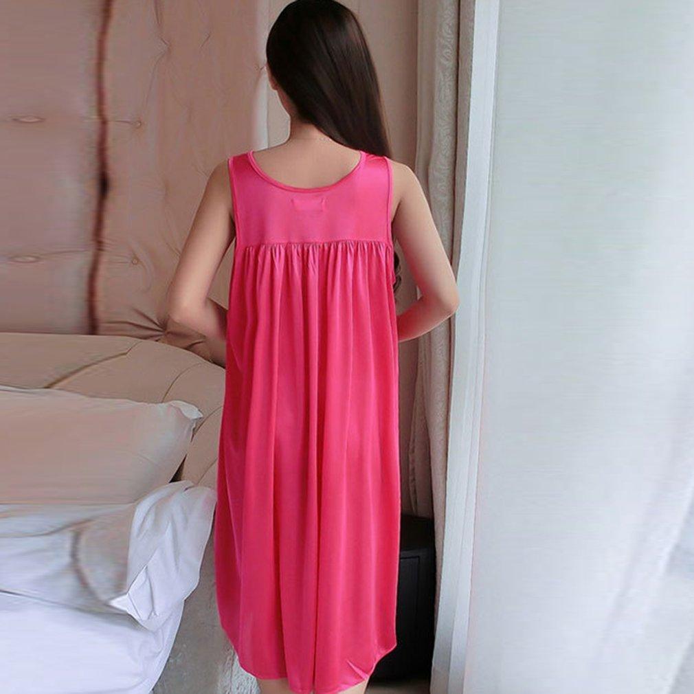 ca8394b80688 Sexy Sleeveless Ice Silk Summer Night Dress Loose Women Lady ...