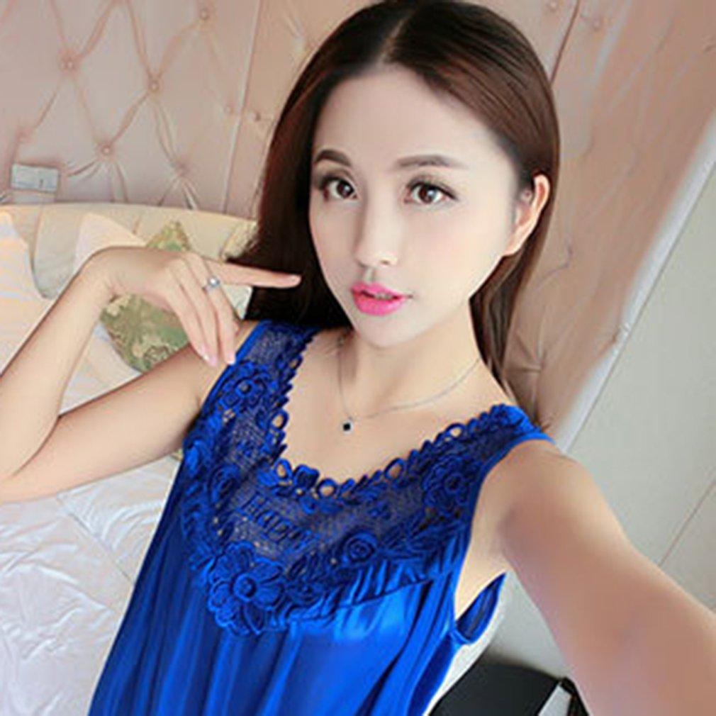 55f92c0763 Sexy Sleeveless Ice Silk Summer Night Dress Loose Women Lady Sleeping Dress  ML
