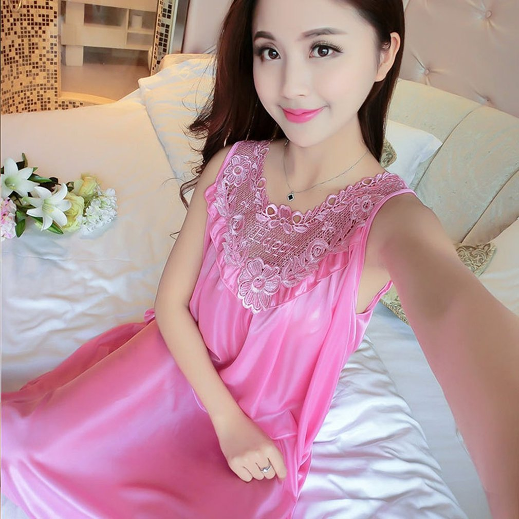 93e92eb1e88c Sexy Sleeveless Ice Silk Summer Night Dress Loose Women Lady Sleeping Dress  ML