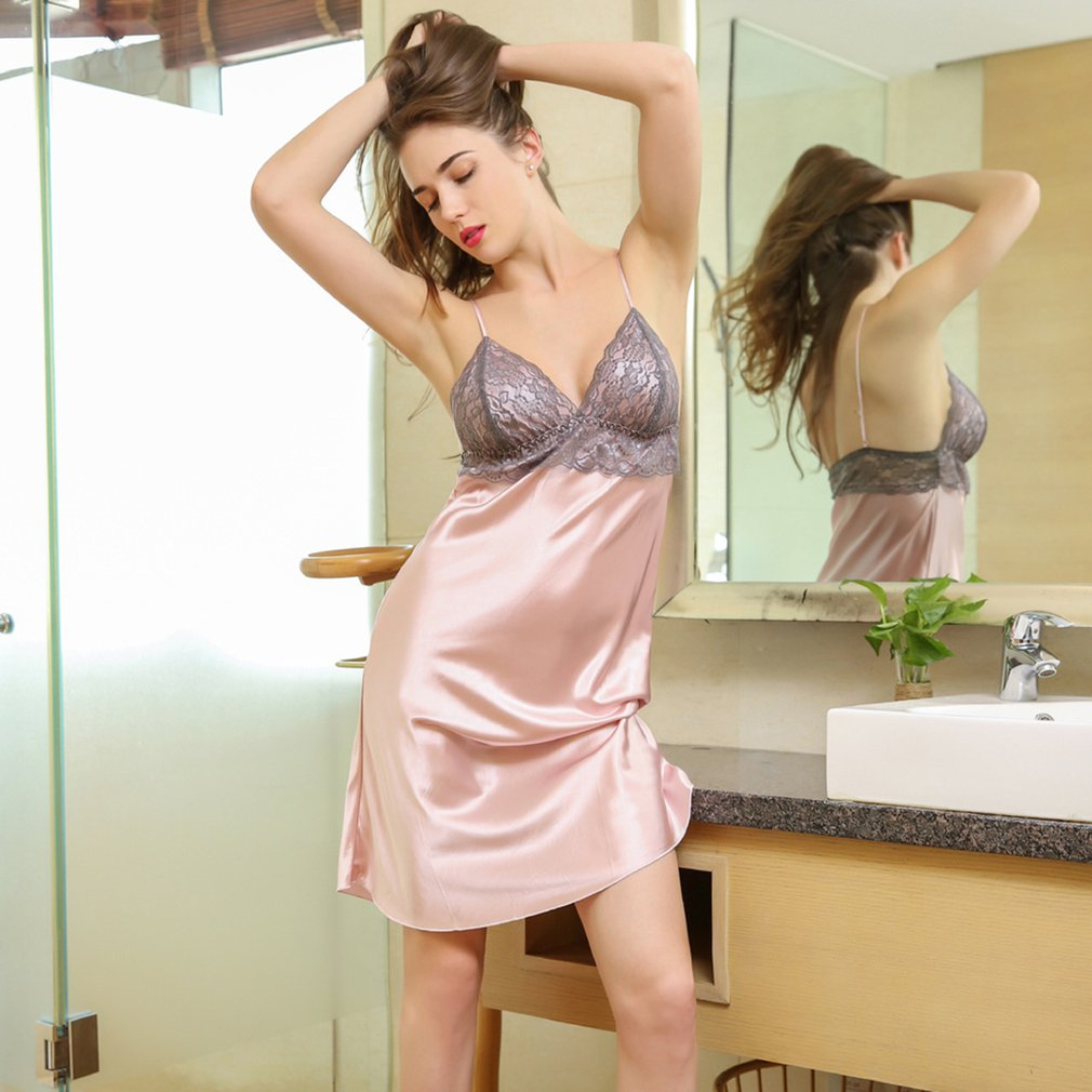873fca02374 Details about Women Sexy Lingerie V Neck Nightwear Satin Sleepwear Lace  Chemise Mini Teddy NP