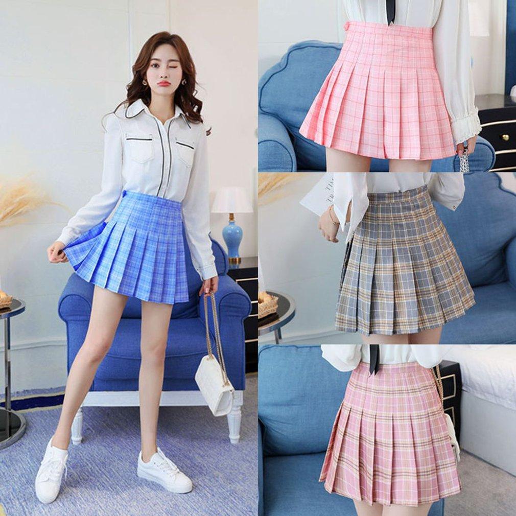 Fashion Womens High Waist Skirt Slim Pleated Skater Tennis School Skirt 0V
