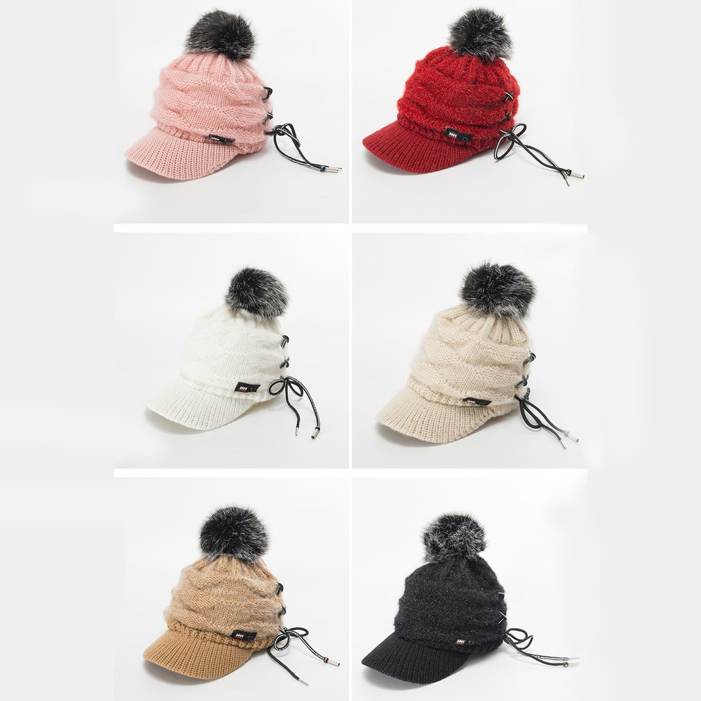 Women Knit Wool Cap Winter Solid Cashmere Ski Hats Real Raccoon Fur Pom Pom  BV 2b55621431d