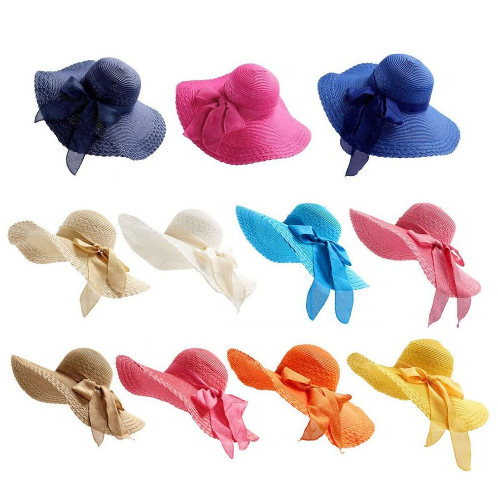 548a4c2f91ea44 Details about Women Wide Large Brim Floppy Summer Beach Sun Hat Straw Cap  with Big Bow Cool HN