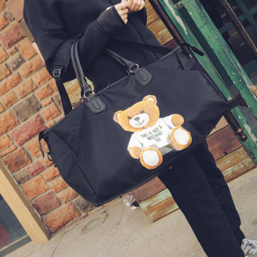 7d1b8de71bd1 Women Stylish Leather Oxford Cloth Tote Bag Bear Printed Travel ...