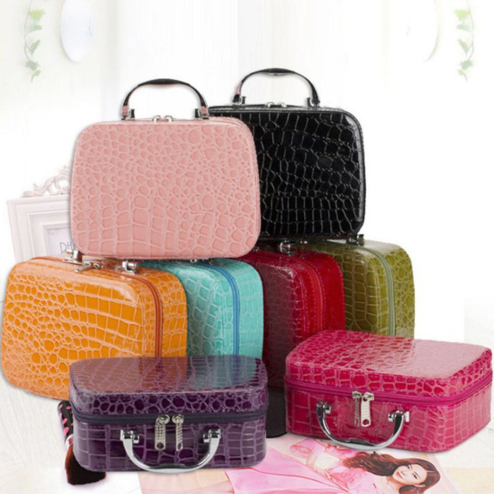 d90bf6e902ce Details about Travel Cosmetic Bag PU Leather Box Portable Train Makeup  Organizer Case