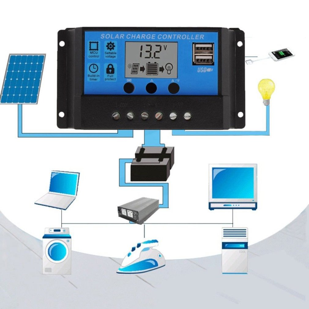 12v 24v Solar Panel Charger Controller Battery Regulator Usb Lcd Charge Specifics Item