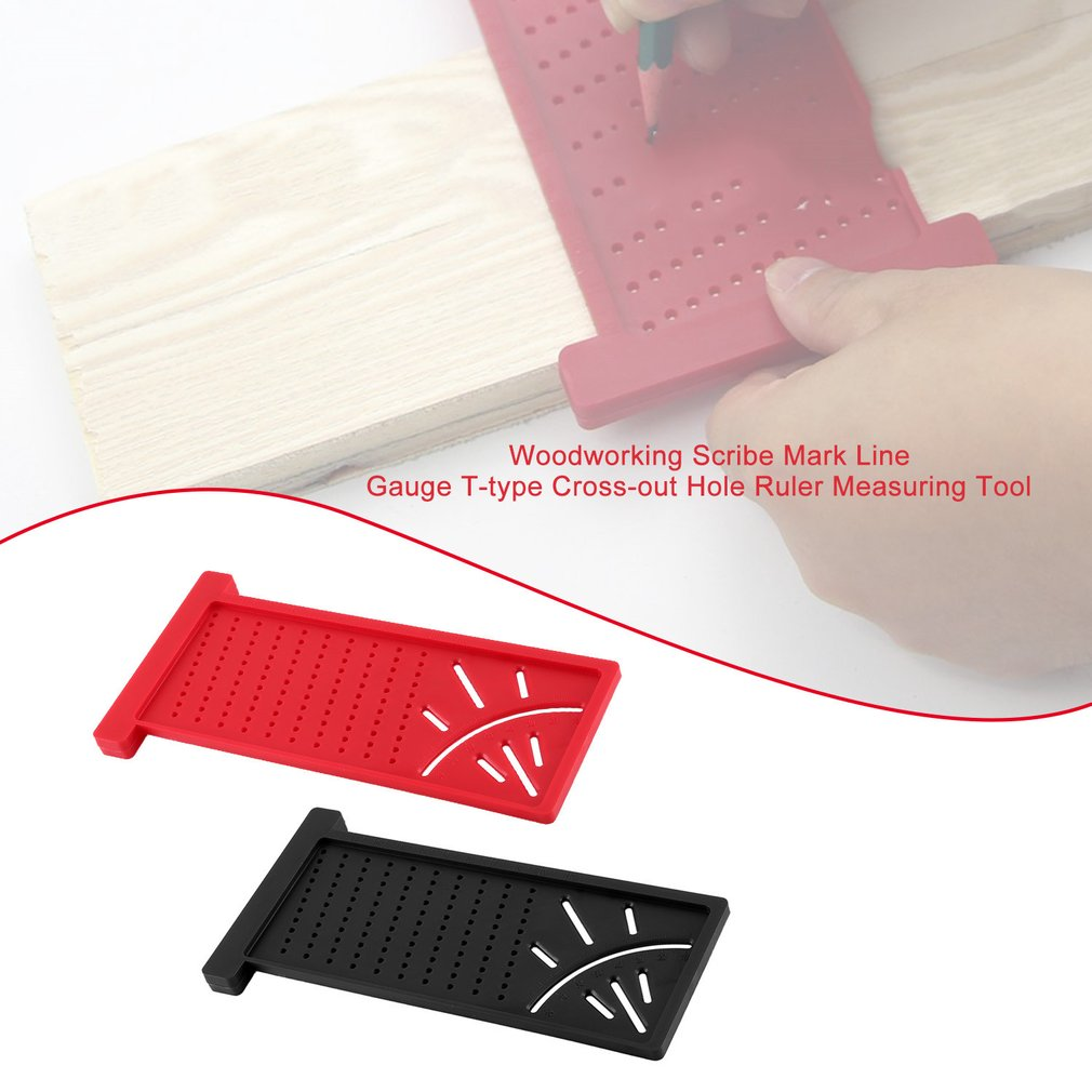 Balight Plastic Precision Woodworking Scribe Mark Line Gauge T-Type Cross-Out Ruler 3D Measuring Ruler Gauge DIY Carpentry Woodworking Tools