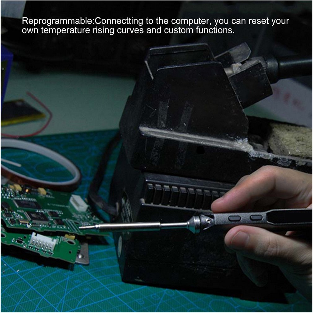 TS100 65W OLED Digital Programmable Soldering Iron Rework Station Hot Air Gun