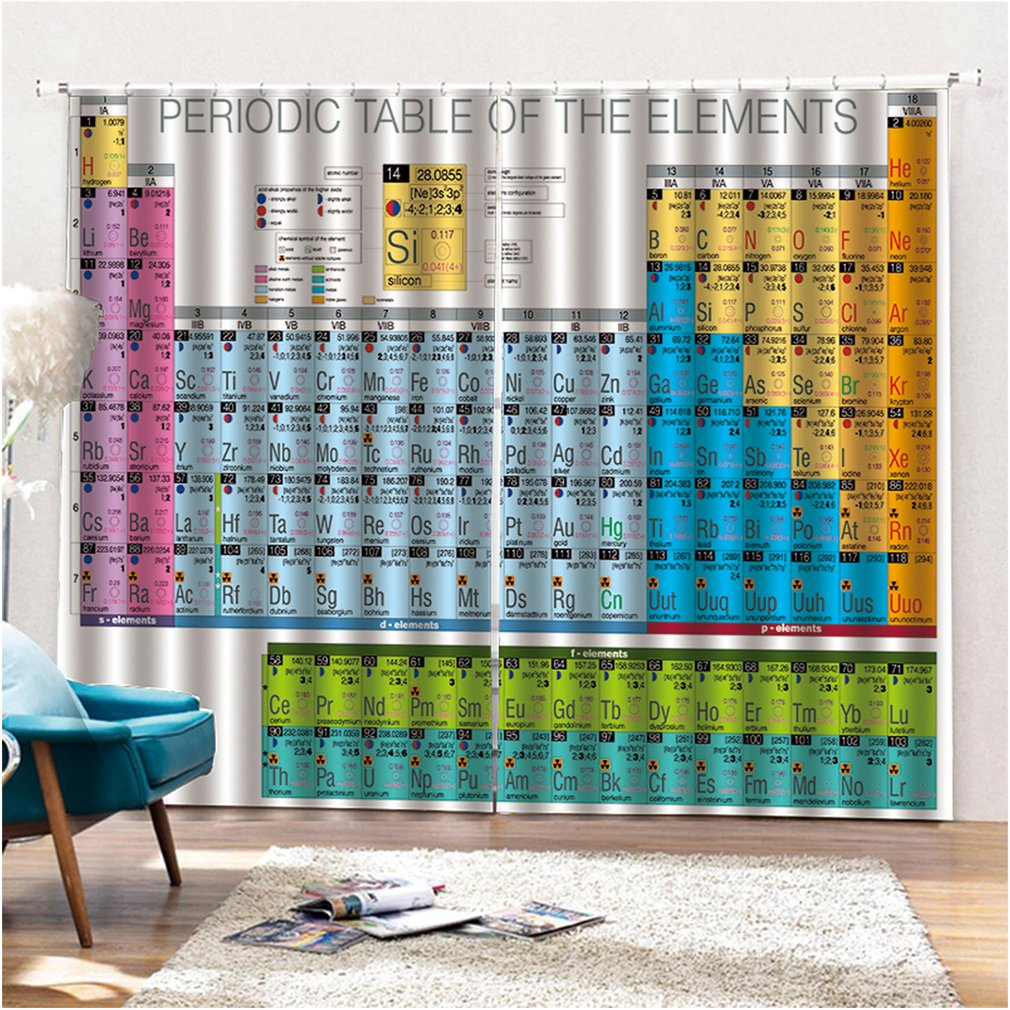 Details About Periodic Table Window Curtains For Home Living Room Bedroom Window Decoration