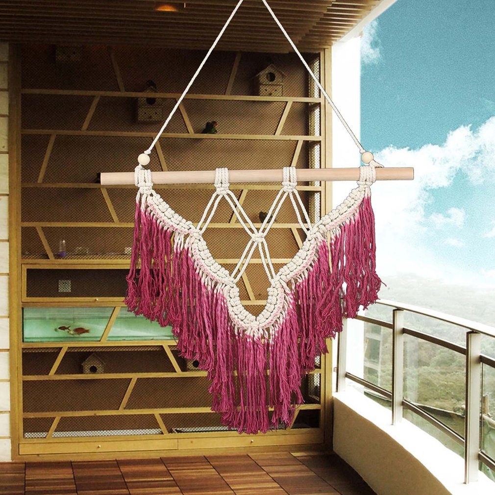 Wall Hanging Tapestry Red Tassel Bohemian Style Wall Decor