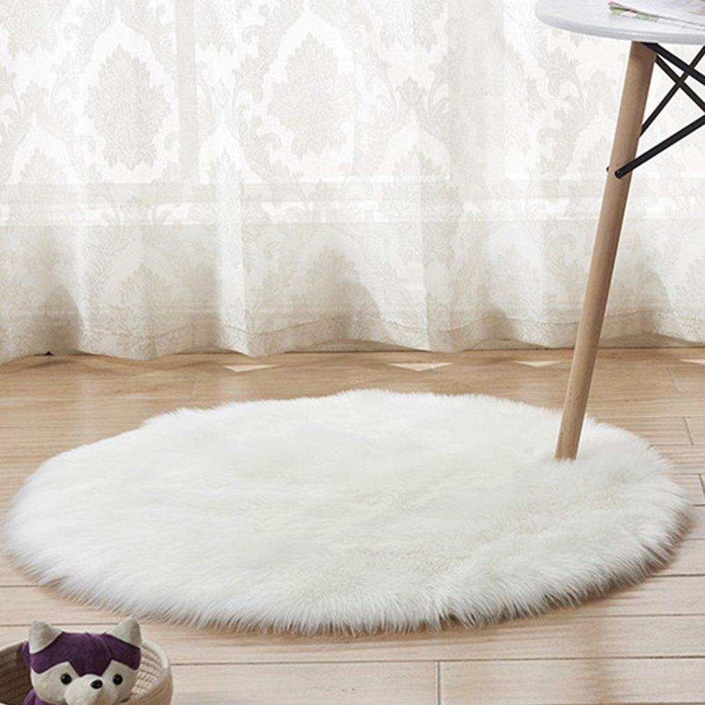 Shaggy Throw Rug: Plush Round Carpet Throw Rug Anti-Skid Shaggy Area Rug