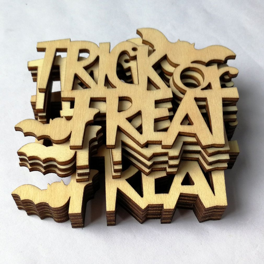 10pcs Halloween Party Decor Supplies Wooden DIY Hanging Ornament ...