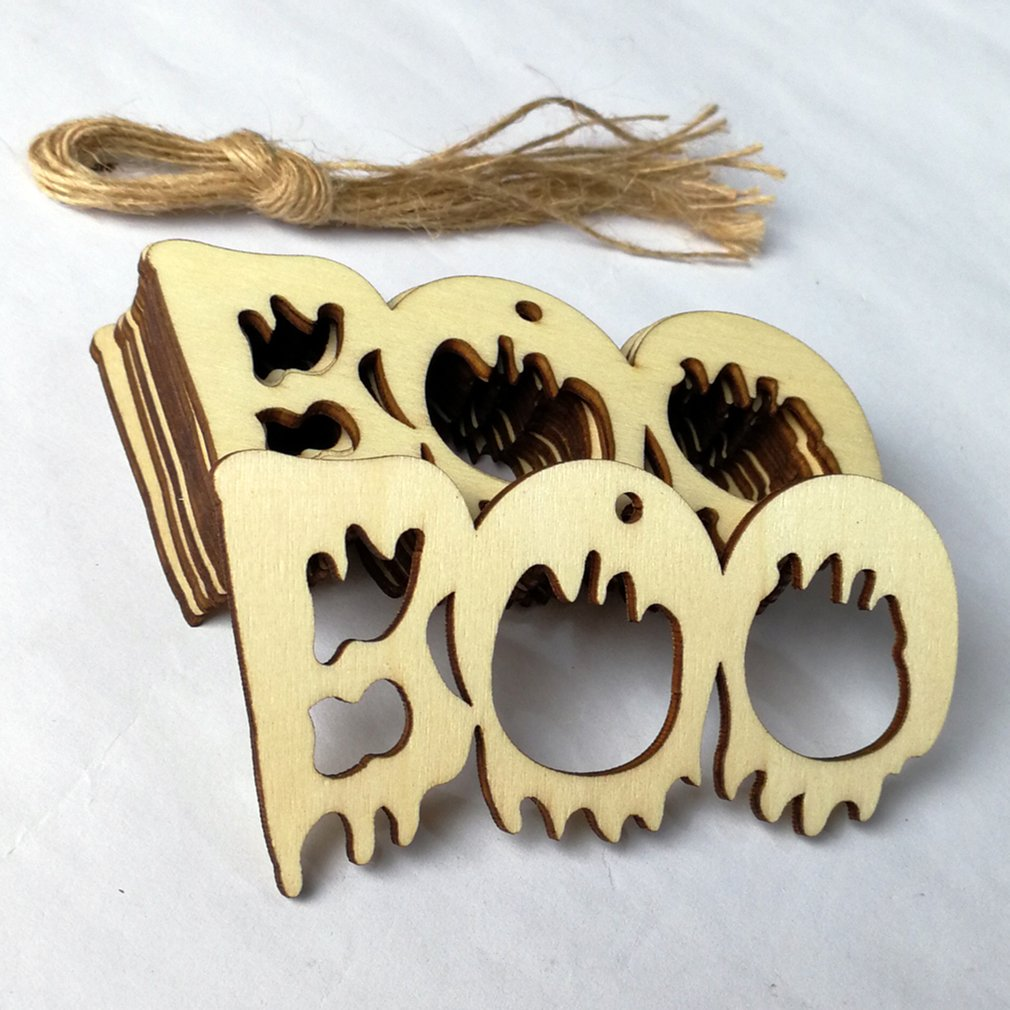 10pcs Halloween Party Decor Supplies Wooden DIY Hanging Ornament ...