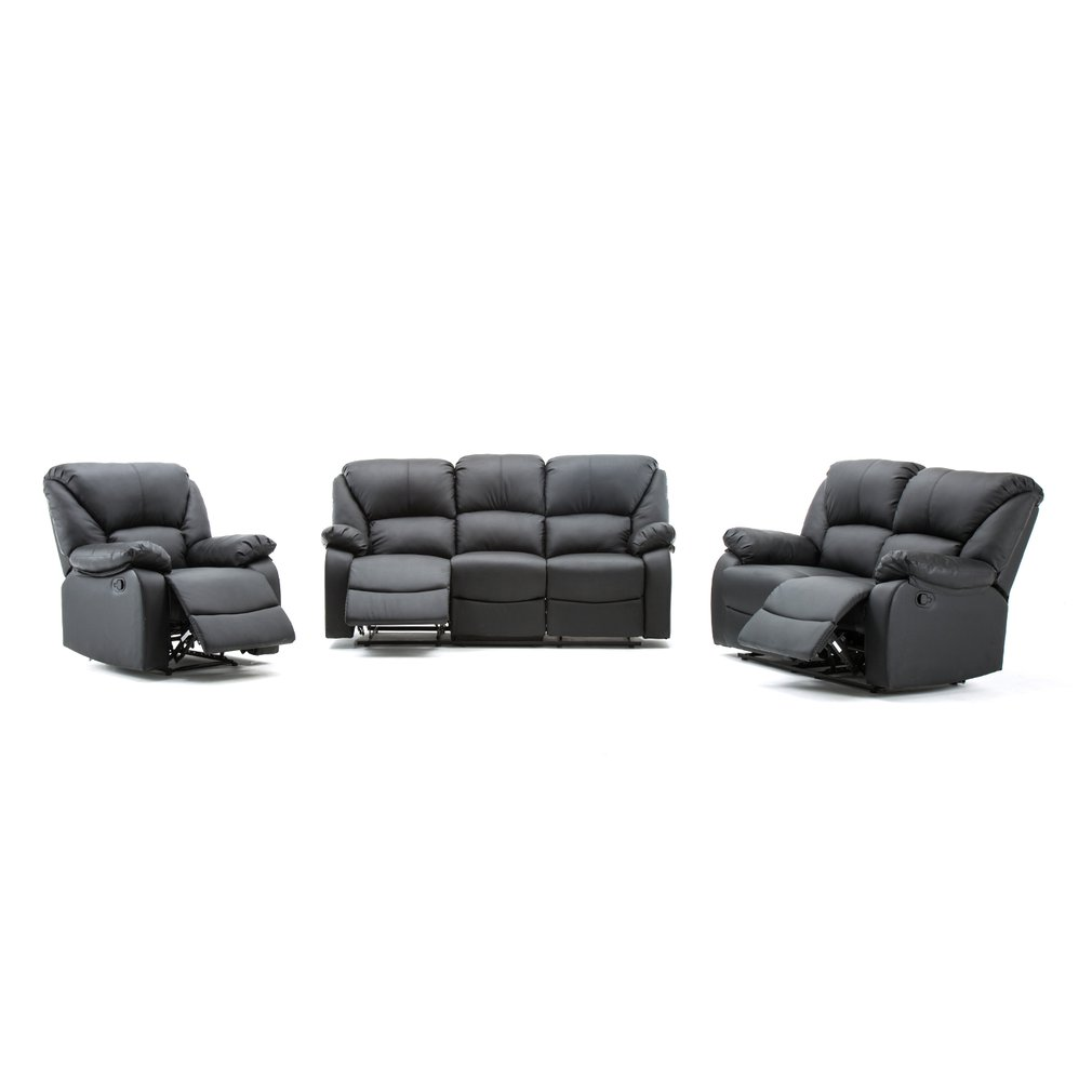 Outstanding Details About Pu Leather Recliner Sofa Armchair 3 2 1 Seater Sofas Suite New Black Footrest Uk Machost Co Dining Chair Design Ideas Machostcouk