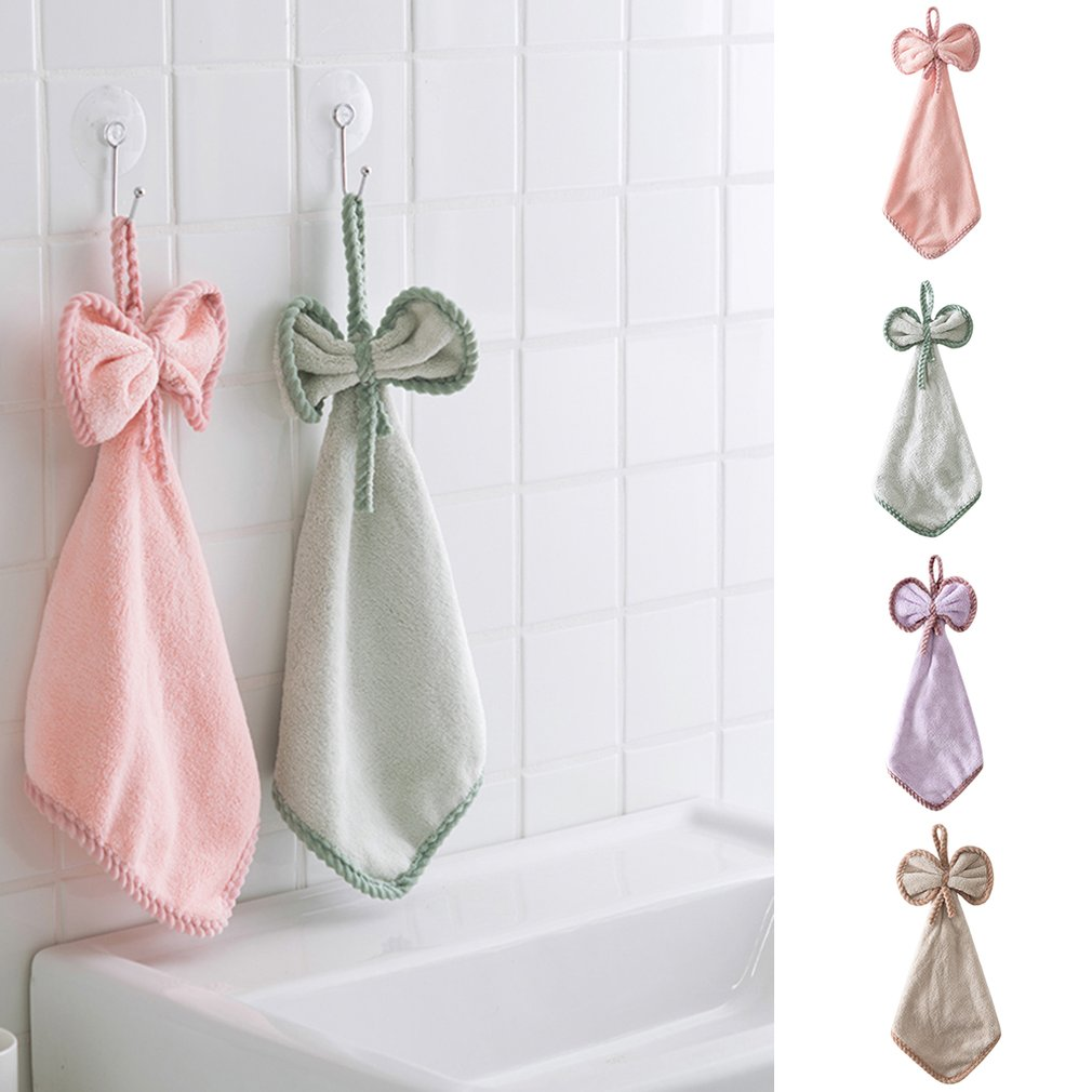 Cute Sunflower Coral Fleece Bowknot Hanging Hand Dry Towel//Dish Wiper Cloth#^
