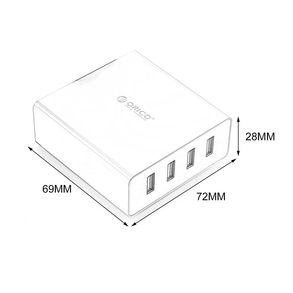 orico 4 port 30w fast multi usb wall charger au  uk  us  eu